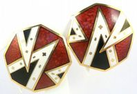 Vintage Art Deco Revival Style Cloisonne Enamel Earrings By Sea Gems.